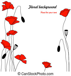 floral, fond, rouges, coquelicots
