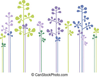 floral, forêt, vecteur, conception