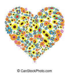 floral, forme coeur, conception
