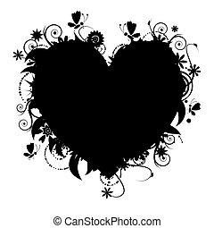 floral, forme coeur, conception, ton