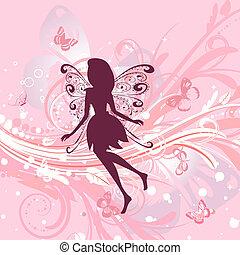floral, girl, fée, romantique, fond