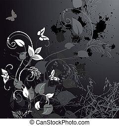 floral, grunge, papillons, conception