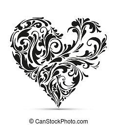 floral, heart., concept abstrait, amour