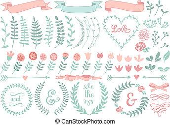 floral, laurier, ensemble, couronne, vecteur