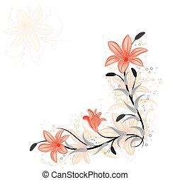 floral, lis, vecteur, concevoir élément