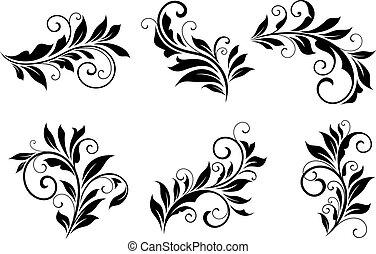 floral, mettez stylique, éléments