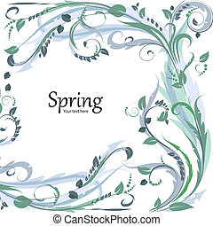 floral, mignon, cadre, conception, ton
