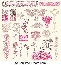 floral, ornaments., ensemble, vendange