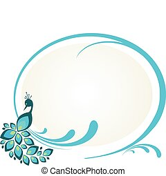 floral, paon, cadre, illustration, séance
