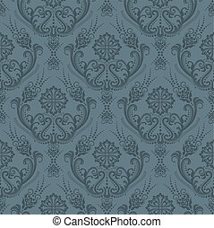 floral, papier peint, luxe, gris