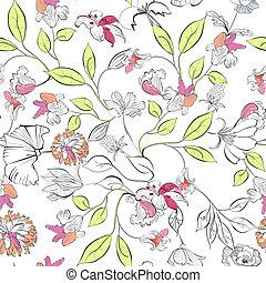 floral, papier peint, seamless
