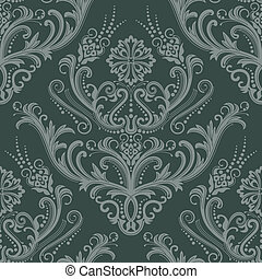 floral, papier peint, vert, luxe