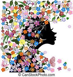floral, papillon, girl, coiffure