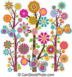 floral, papillons, arbre