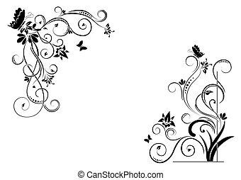 floral, papillons, fond