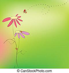 floral, printemps, été, carte, ladybirds
