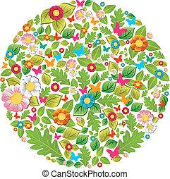 floral, printemps, cercle, été