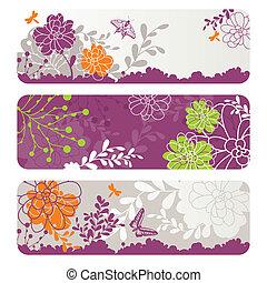 floral, résumé, bannières