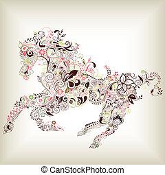floral, résumé, cheval