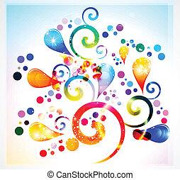 floral, résumé, coloré
