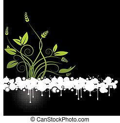floral, résumé, vecteur