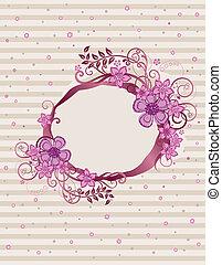 floral, rose, cadre, conception, ovale