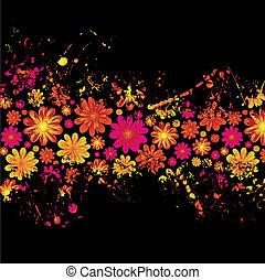 floral, splat, encre