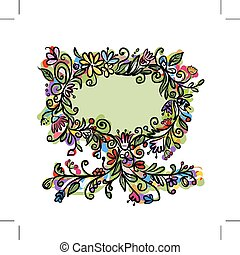 floral, texte, cadre, arbre, ton