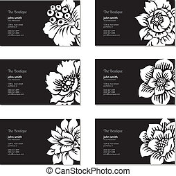 floral, vecteur, ensemble, carte affaires