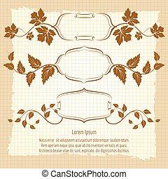 floral, vendange, cadre, branches, conception