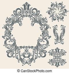 floral, vendange, cadre, conception