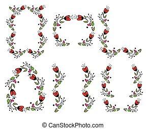 floral, vendange, cadre, ensemble