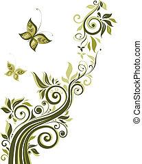 floral, vendange, conception