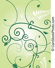 floral, vert, éclater