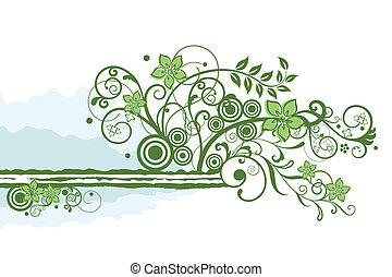 floral, vert, frontière, élément