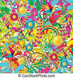 floral, vibrant, été, modèle