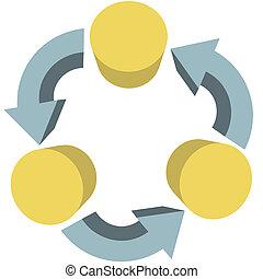 flot travail, espace, flèches, communications, recycler, copie