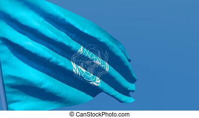 flottements, bleu, drapeau, nations, vent, uni, ciel, contre