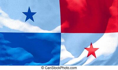 flottements, drapeau panama, national, vent