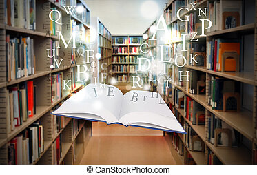 flotter, livre, lettres, education, bibliothèque