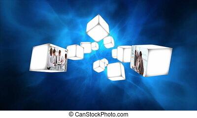 flotter, vidéos, cubes, business