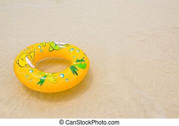 flotteur, orange, anneau, plage, piscine