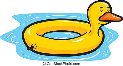 flotteur, piscine, canard