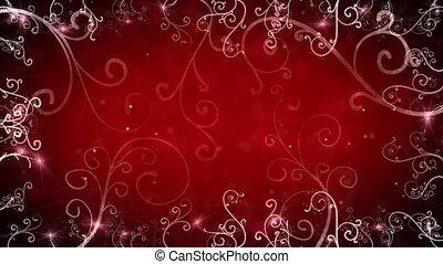 flourishes, cadre, rouges, boucle