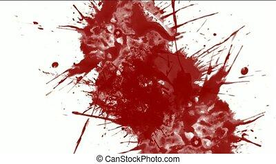 fluide, éclaboussure, liquide, peinture, rouges, &, encre