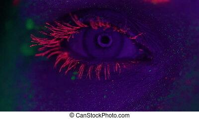 fluorescent, femme, uv, maquillage