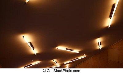 fluorescent, plafond, moderne, lumière