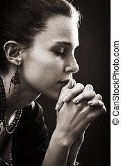 foi, femme, -, prière, religion