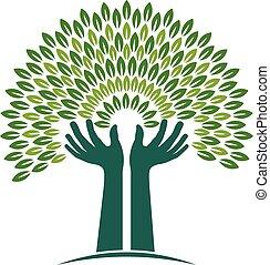 foi, graphique, arbre, illustration, vecteur, mains, logo.