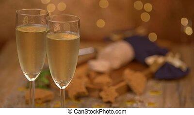 foie, toast, gastronomie, nouveau, célébration, année, champagne, francais, gras, noël